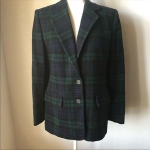 Ralph Lauren Wool Cashmere Blend Plaid Jacket